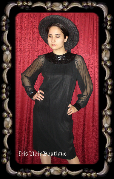 {Vintage} 'Gothic 60s' Sequined Black Chiffon Dress S-M